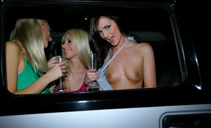 Stunning lesbian babes throwing a wild pussy licking party in a limo