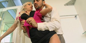 Blond MILF with huge tits Giselle Monet takes hardcore pounding