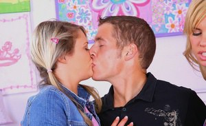 Sexy teen blondes sharing a huge bulging cock and a creamy cumload