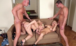 Big titted MILF blondes getting their cunts and buttholes banged deep