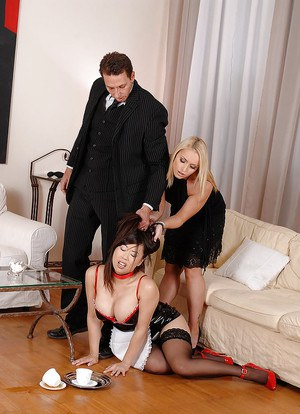Kinky asian babe in maids uniform dominated by her masters