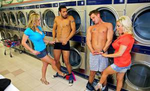 Lusty MILFs Tanya Tate & Amy Carlo teasing a cock in the laundry