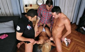 Sexy girl with tiny tits Nikky Thorne is into groupsex with three guys