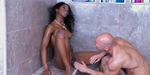 Sweet ebony girl with tiny tits Tia Freaxxx gets fucked in the shower