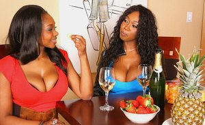 Fatty ebony babes with big tits have fun drinking champagne