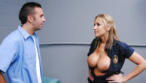 Big titted babe in uniform Alanah Rae gets seduced and fucked