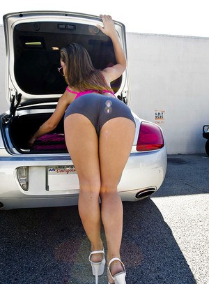Lovely babe in glasses Kristina Rose shows her big booty outdoor