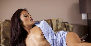Asian MILF Kaylani Lei is stripping and toying her tight butthole