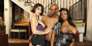 Ebony MILF babe Jada Fire and Roxanne Hall getting banged in turns