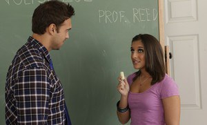 Coed with small tits Mischa Brooks pleases her teacher with her cunt