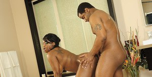 Chubby ebony MILF with big tits fucking hardcore in the bath