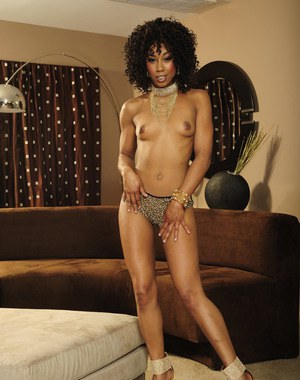Cute ebony girl with tiny tits Misty Stone undressing to show her body