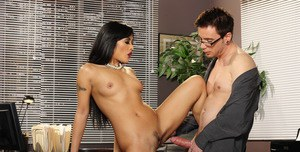 Asian MILF with tiny tits Kaylani Lei fucking hardcore in the office