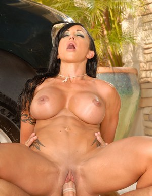 Horny MILF with big tits Jewels Jade fucking a big dick outdoor