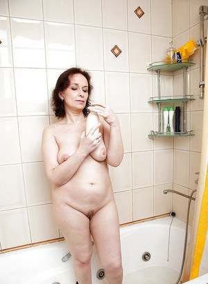 Fatty big titted Alena masturbating and spreading pussy in the shower