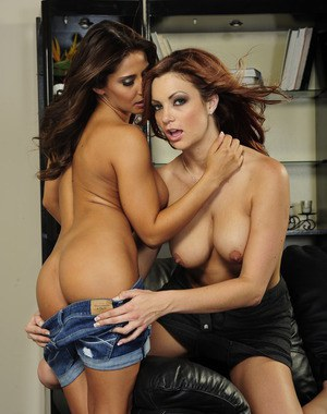 Hot lesbian Madison Ivy with big tits kissing and fingering her girl