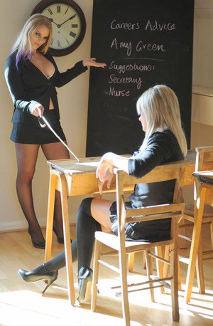 Schoolgirl Amy Green gets punished by her mistress and shows her tits
