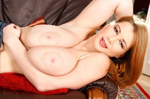 Young fatty Lea denudes huge juggs and masturbates with a dildo