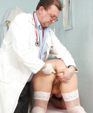 Gyno office visit with hairy cunt Grandma spreading wide for the doc