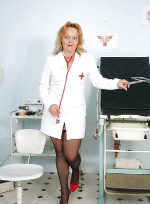 Nurse Chubby - Chubby mature nurse in uniform showing and toying her hairy ...