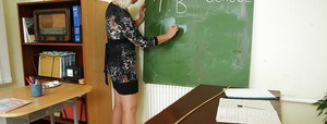 Blonde aged teacher getting horny and toying her twat in class