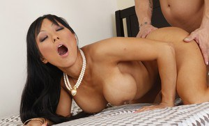 Busty asian MILF Gaia gets her shaved cunt slammed hardcore