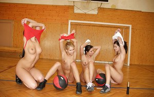Gorgeous sporty teen girls having lesbian fun after training