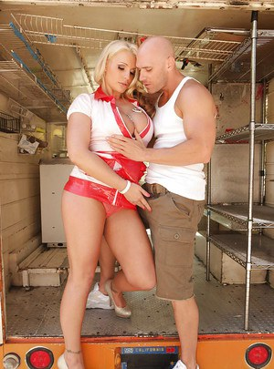 Sadie Swede pulls her big tits out of uniform & gets her cunt licked