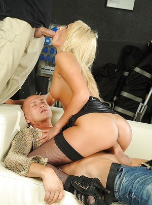 Blonde babe in stockings Ivana Sugar is into groupsex with two lucky guys