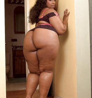 Hot ebony plumper on high heels Crystal Clear posing in lingerie