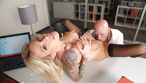 Blonde MILF in stockings Sarah Jessie gets shagged by a bald man