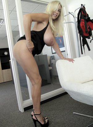 Sexy MILF Wifey exposing her boobs and spreading her legs in the office