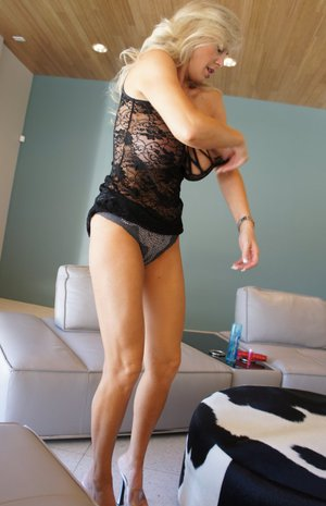 Seductive blonde mature babe Wifey taking off her sexy lingerie