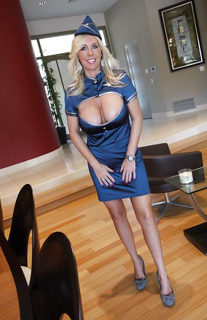 Hot babe in sexy air hostess uniform Wifey exposes her ass and jugs