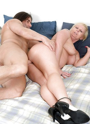 Mature fatty woman is into hardcore groupsex with two horny guys