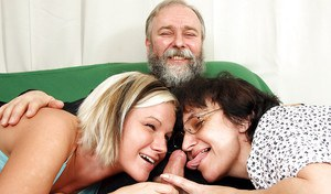 Teen babe Michaela N is into hot threesome with oldman and mature lady