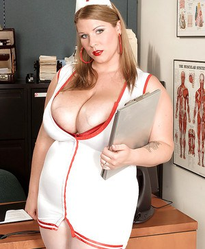 Fatty MILF in nurse uniform Renee Ross exposing her giant melons