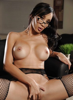 Sexy asian MILF in glasses Katsuni taking off her clothes in the office