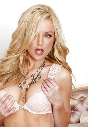 Gorgeous blonde babe in lacy lingerie Kayden Kross masturbating her pussy