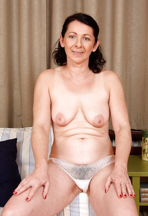 Filthy mature lady with flabby tits and hairy legs Anna B stripping