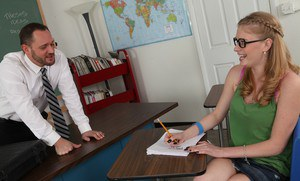 Naughty coed in glasses Allie James sucks and fucks her teacher's dick
