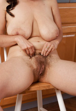 Chubby MILF showing off her huge flabby jugs and hairy poon