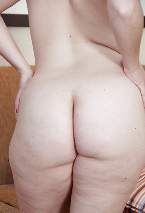 Adorable chubby babe with ample ass showing off her bushy cunt