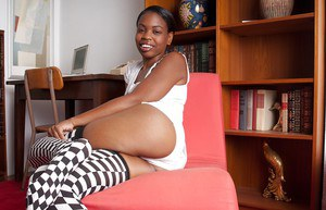 Fuckable ebony babe in socks slipping off her white panties