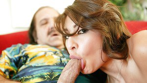 Young Latina AJ Estrada gets fucked by an oldman & plastered with cum
