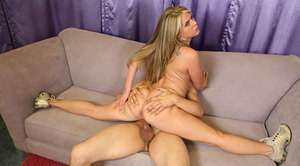 Flexy teen babe Megan Reece gets her shaved muff drilled hardcore