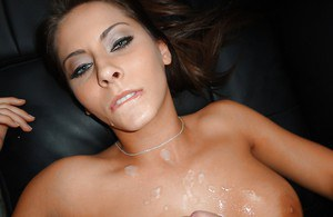 Amateur babe Madison Ivy fucks a huge cock and gets a cumshot on her boobs