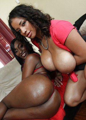 Filthy ebony MILFs showing off their boobs and ample asses