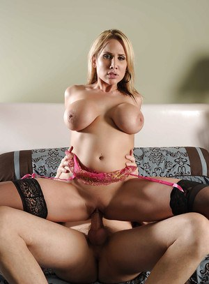 Busty babe in lacy lingerie and stockings Alanah Rae gets shagged hardcore