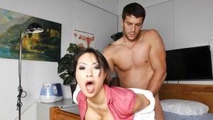 Hot asian babe in stockings and doctor uniform Asa Akira gets screwed
